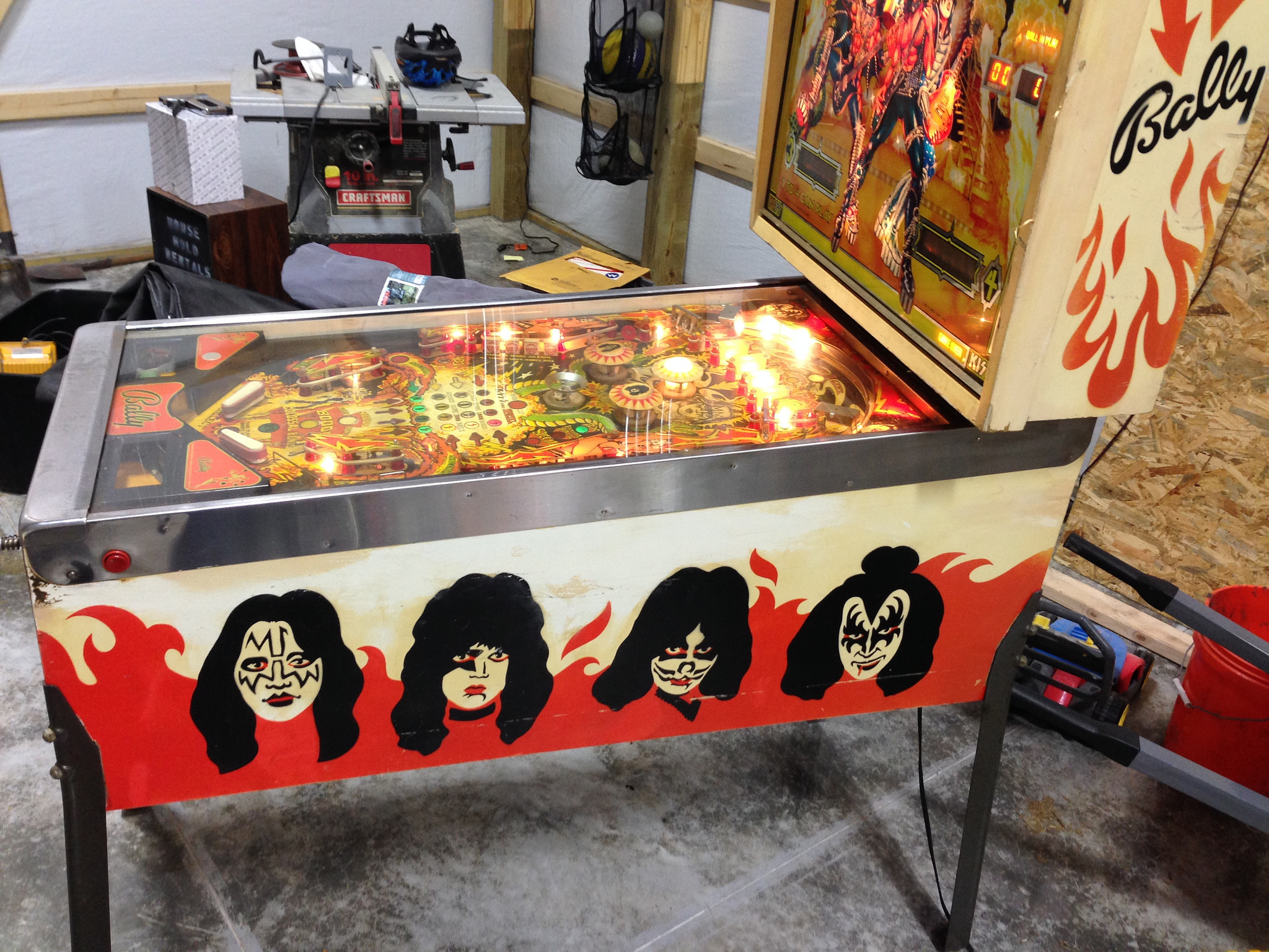 KISS pinball machine partially cleaned